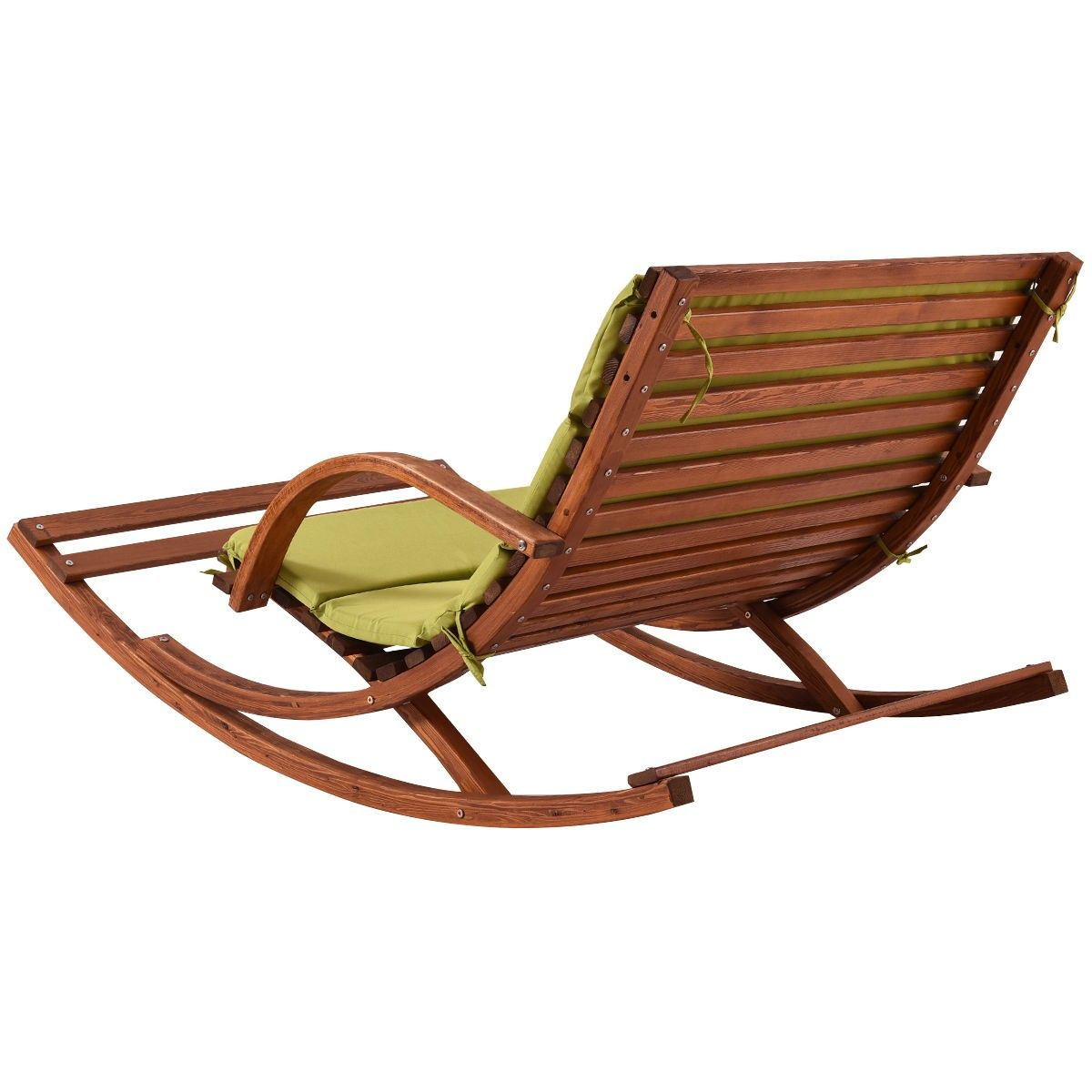 2 Person Lounge Chair Outdoor 2 Persons Rocking Wooden Lounge Chair With Cushion In 2019