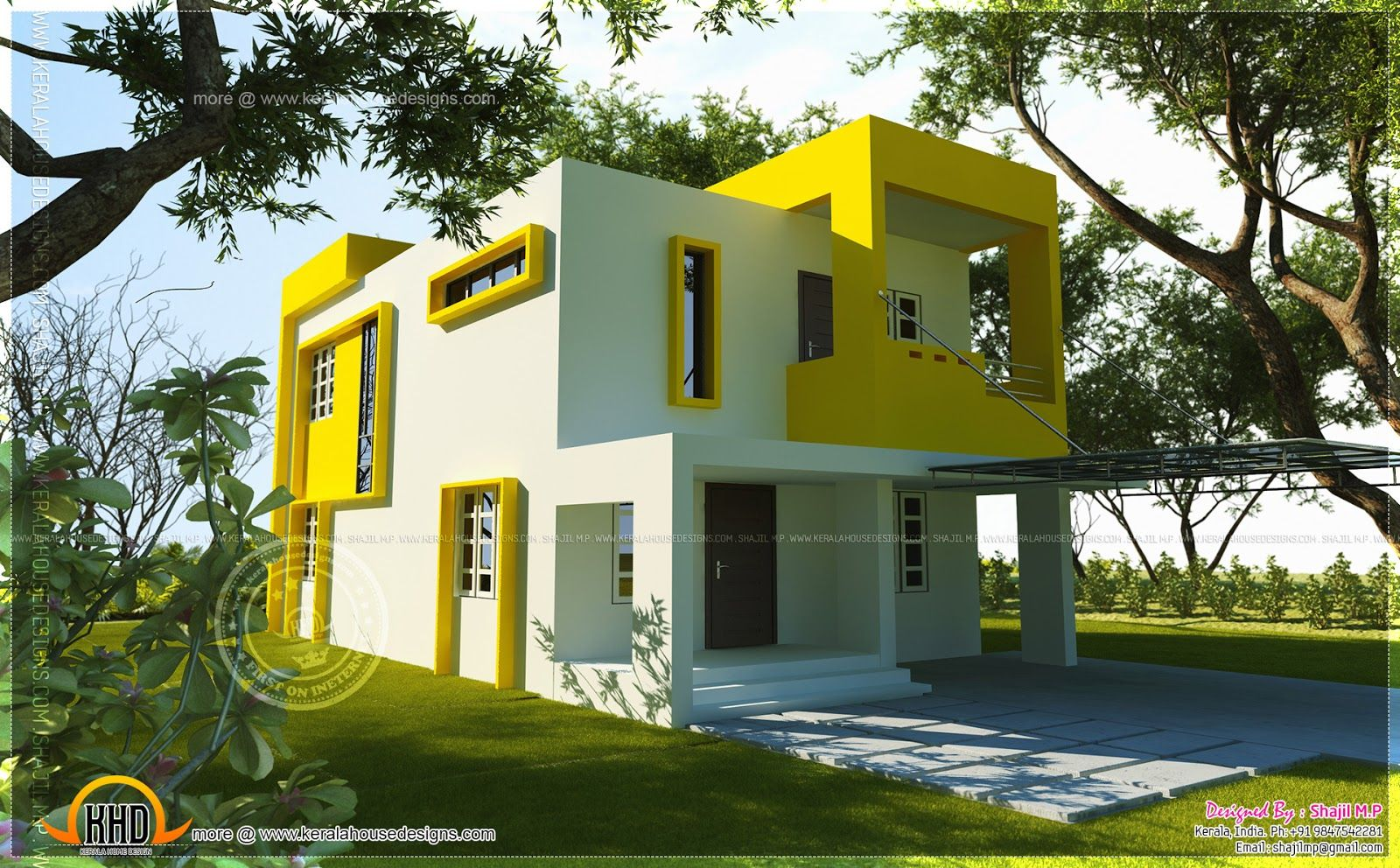 Small contemporary house square feet indian house plans for Exterior indian house paint