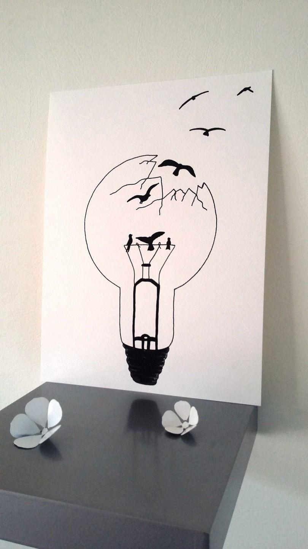 affiche illustration noir et blanc ampoule libert. Black Bedroom Furniture Sets. Home Design Ideas