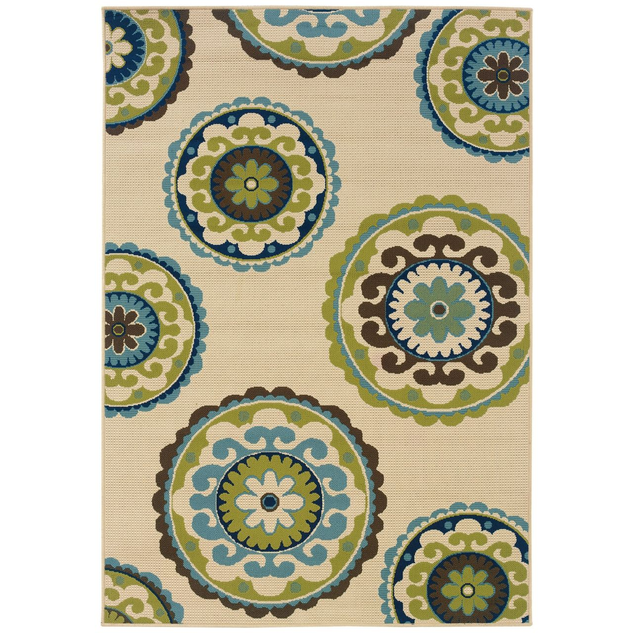 3 7 X 5 6 Outdoor Indoor Area Rug In Ivory Green Blue Brown Circles