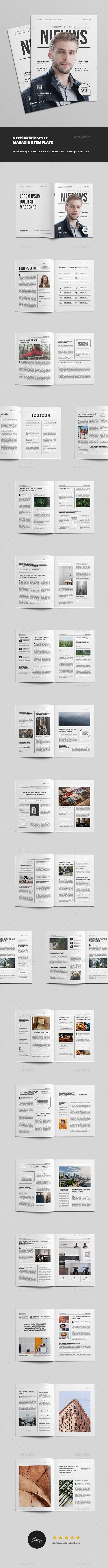 Newspaper Style Magazine  Template Print Templates And Newspaper