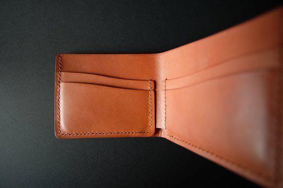 Slim Minimalist Vegetable Tanned Bi Fold Leather Wallet For Men