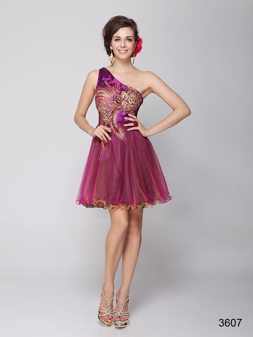 Single shoulder party dress with embroidered peacock design and sequined bodice