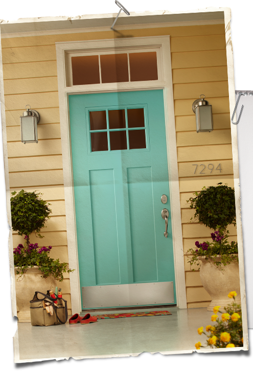 Robin 39 s egg blue and yellow exterior paint colors for Front door yellow paint