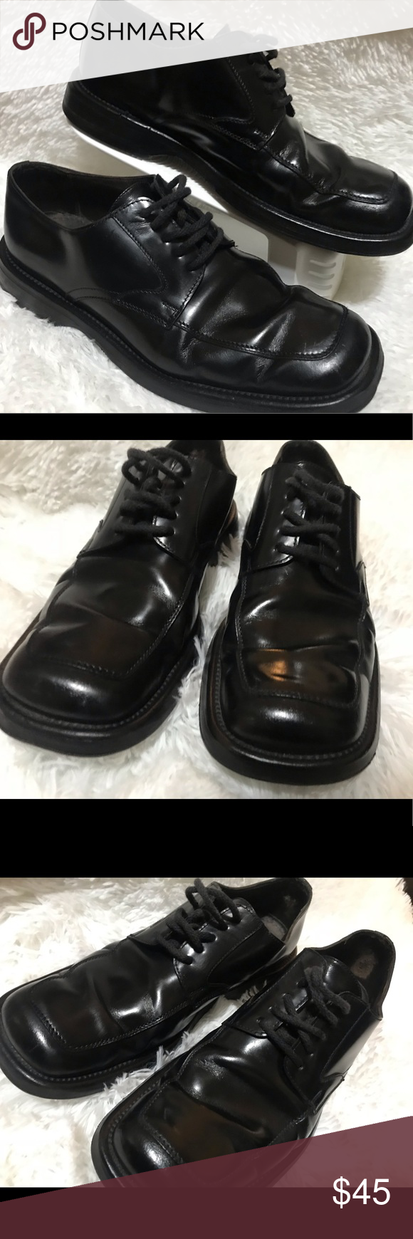 Men's Guess 7.5 Black Leather Shoes