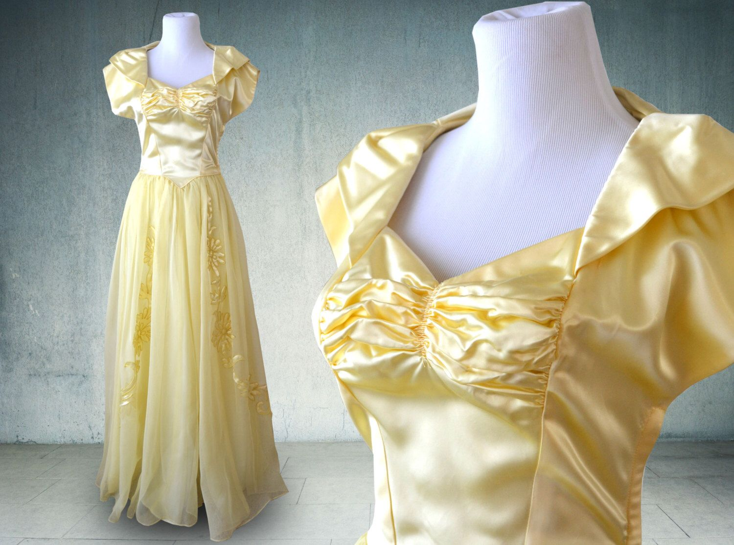 S evening gown in yellow satin and chiffon wedding dress by