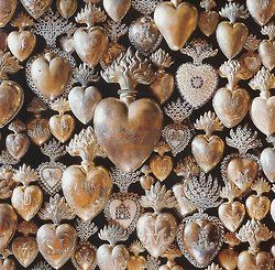 ihlapi:    Ex Voto  A selection of French votive hearts. Many of them have a Marian monogram on the front.