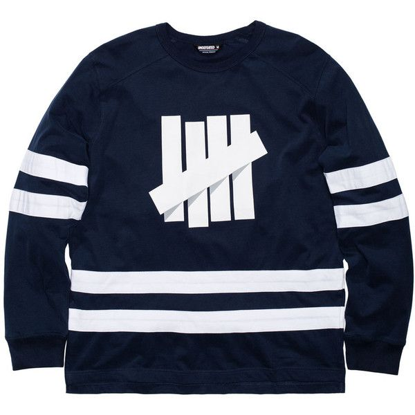 cfa0bf10 UNDEFEATED BREAKAWAY HOCKEY JERSEY ($56) ❤ liked on Polyvore featuring  tops, jersey top, blue top and blue jersey