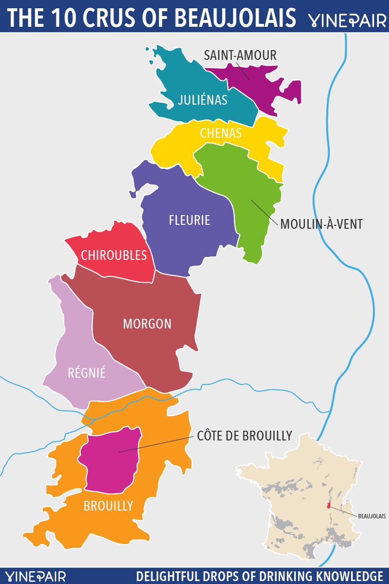 A Personality Guide To The 10 Crus Of Beaujolais   With Map