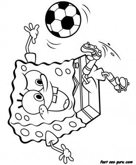 Print Out Spongebob Playing Soccer Coloring Page   Printable Coloring Pages  For Kids
