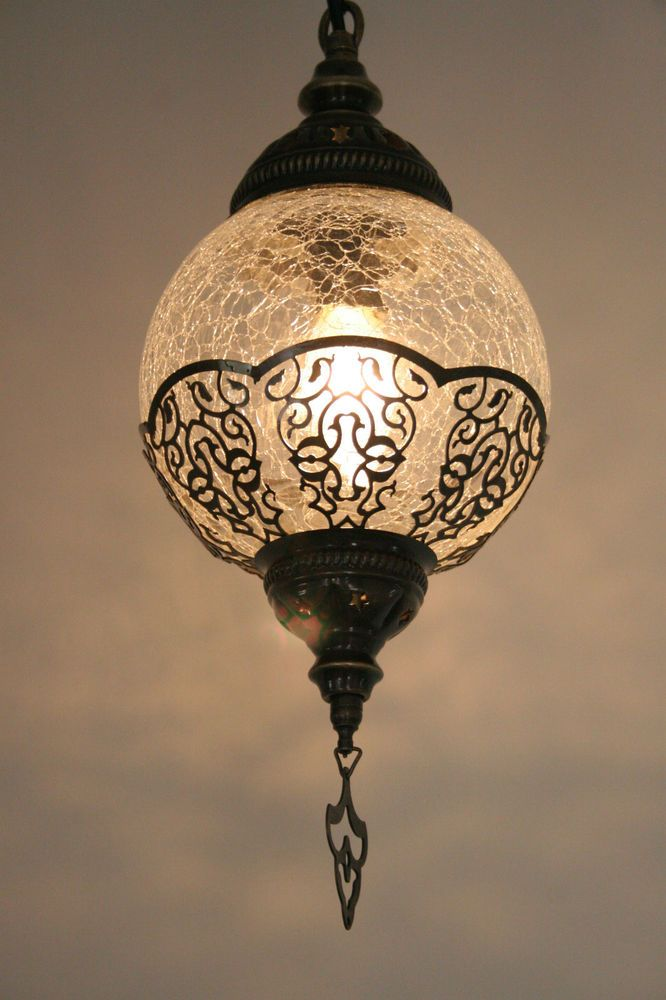 LARGE TURKISH OTTOMAN MOROCCAN CRAQUELURE GLASS ROUND LIGHT LAMP PENDANT