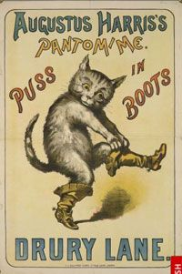 """Poster for Augustus Harris's Pantomime """"Puss in Boots"""", 1887"""