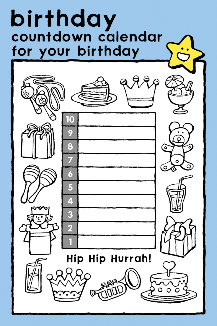countdown calendar for your birthday, coloring pages, kids, cake