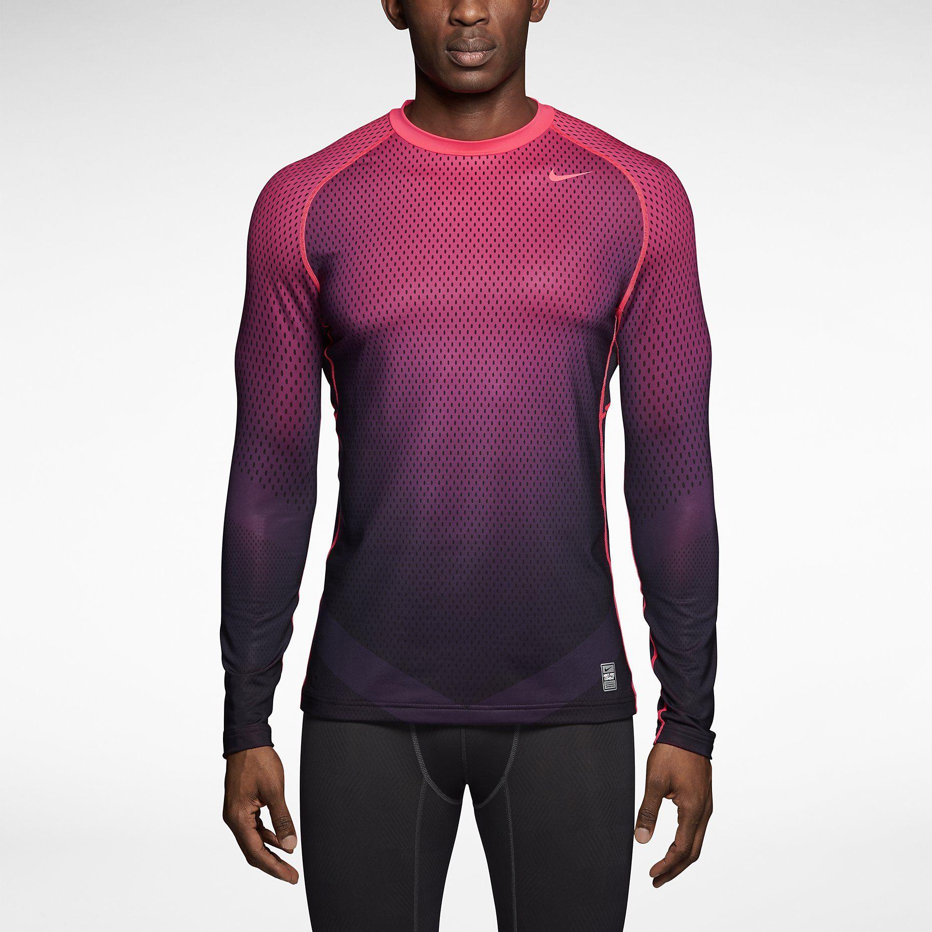 247481bc7 Nike Pro Combat Hyperwarm Dri-FIT Max Fitted Chameleon Long-Sleeve Crew Men's  Shirt. Nike Store HyperPunch $50