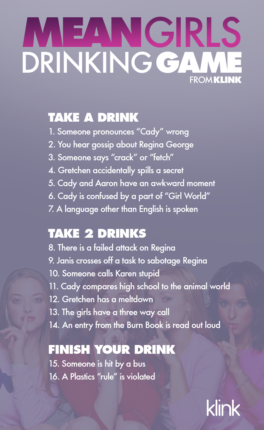 Official Mean Girls Drinking Game | Drinking Games ...