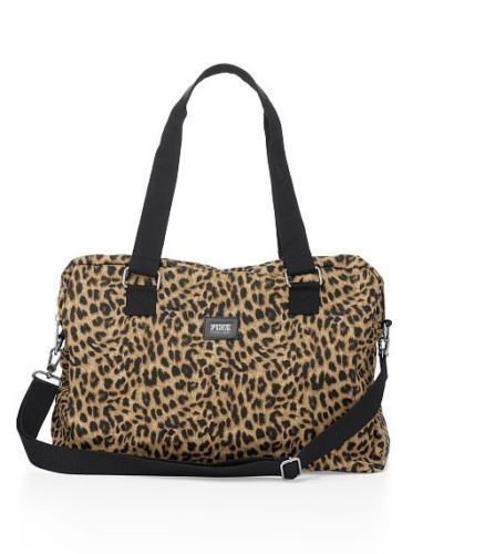 aa4cb7ef7bd2 VICTORIAS SECRET PINK ANIMAL PRINT DUFFLE TOTE GYM BAG LUGGAGE LEOPARD NWT
