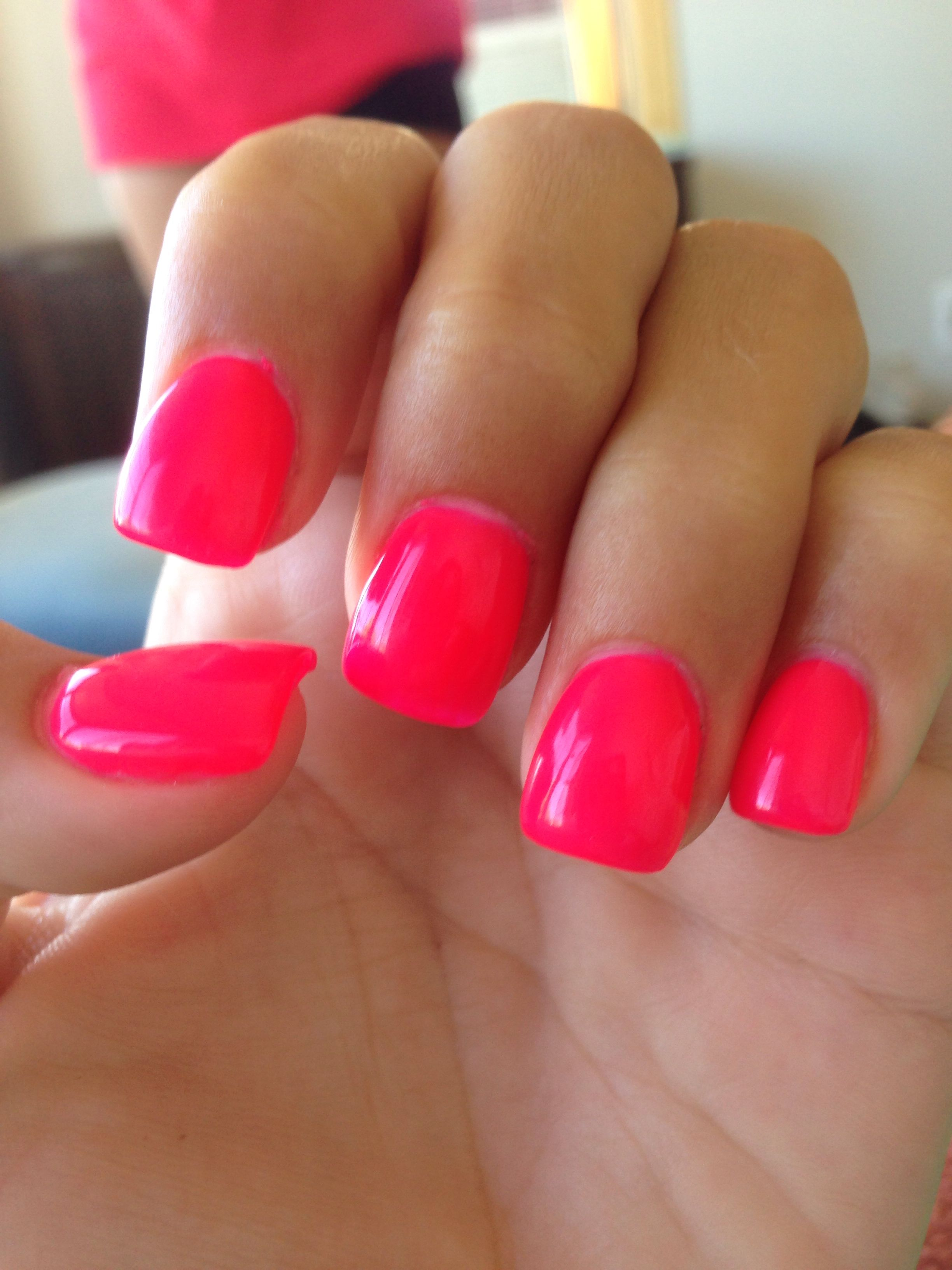 hot pink nails #summer #love #nails