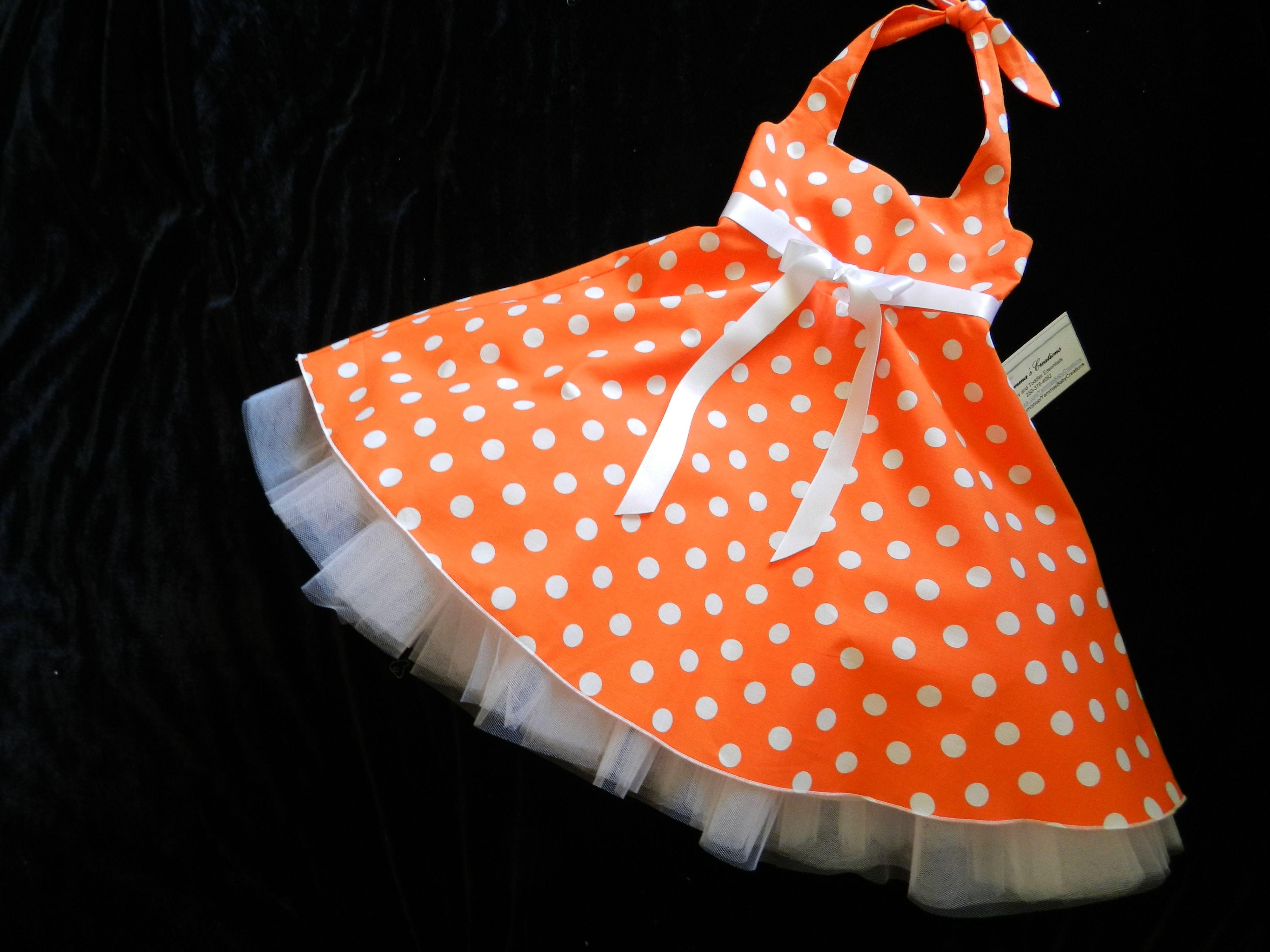 c6c821326f83 100% cotton orange polka dot sundress