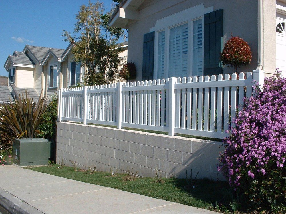 vinyl picket fence front yard. For The Front Yard (front Fence \u0026 Retaining Wall) Vinyl Picket L