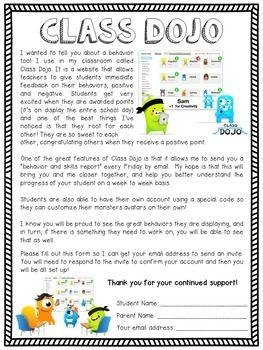 Class Dojo Parent Letter   Kindergarten    Dojo