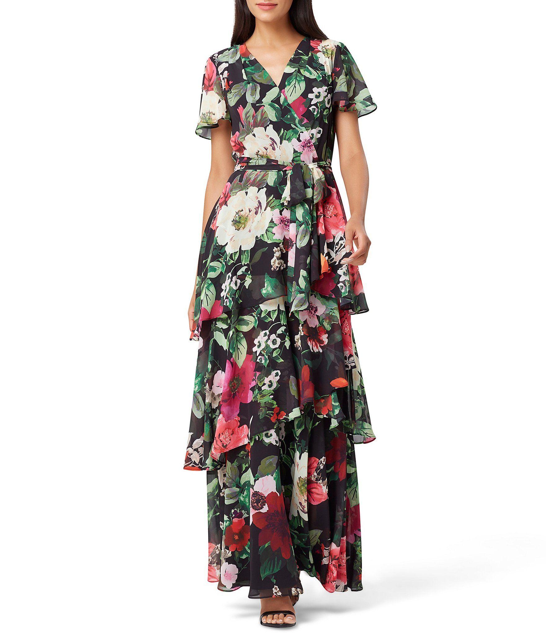 Tahari Asl Floral Print Tie Waist Chiffon Tiered Maxi Dress Dillards Maxi Dress Womens Maxi Dresses Tiered Maxi Dress [ 2040 x 1760 Pixel ]