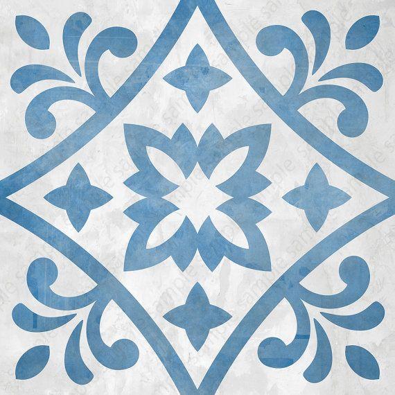 Digital tiles, Blue and white ornate wall decor, printable geometric wall art, tile pattern prints 8×8 square each, DIY geo home decor