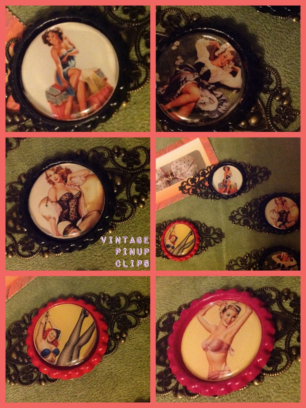 My new fav. Vintage pinup model hair clips . Image is on a bottle  cap. These are $5 each making a wonderful Mother's Day present