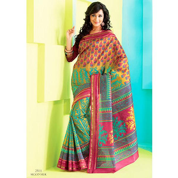 Infinity Collection  Magnificient Multicolor saree crafted on Raw silk material is surely to add charm to your persona. The saree is crafted with self embossed prints. This saree is accompained with matching blouse piece. Color may slightly vary due to screen resolution and digital photography.