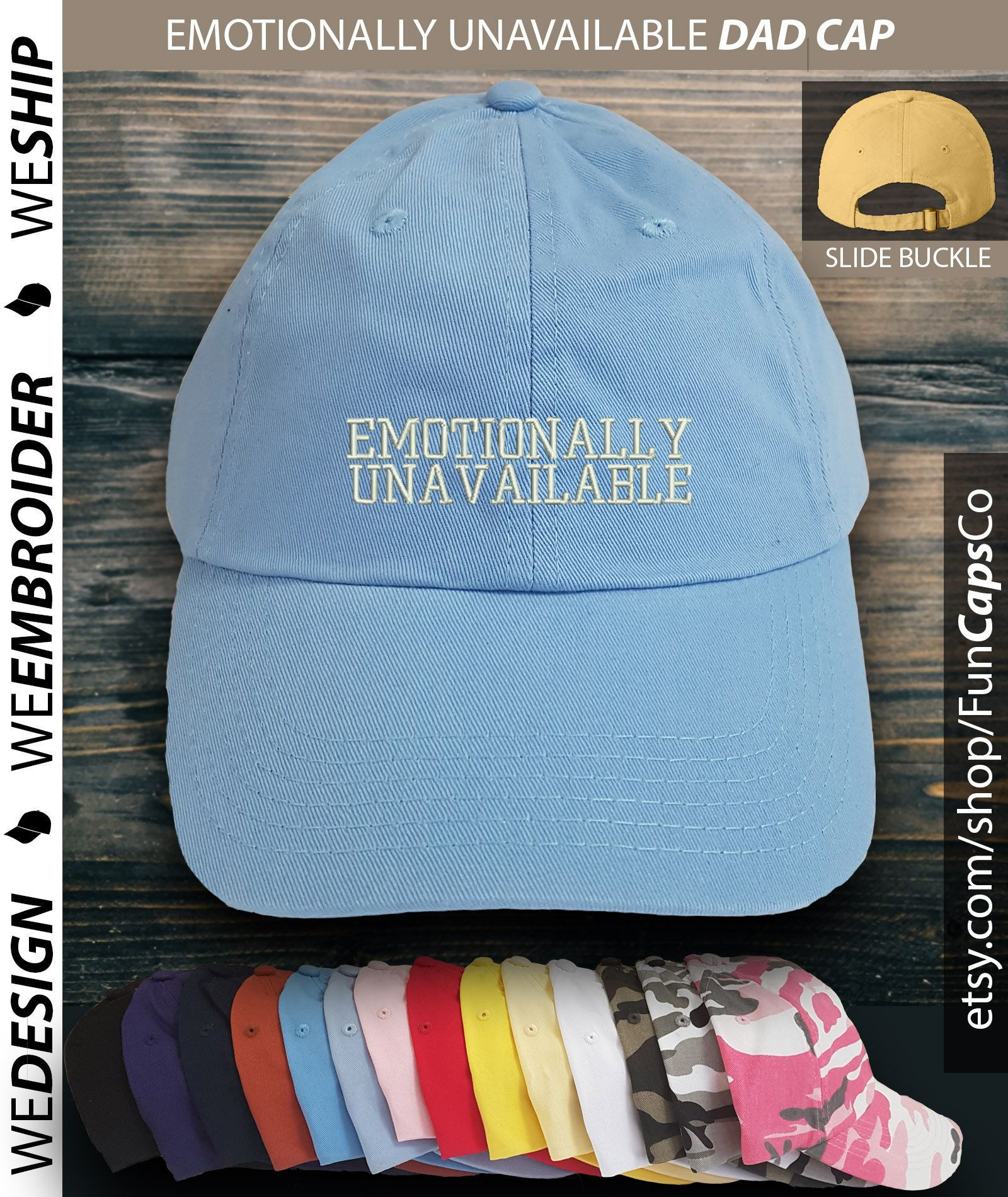 b0394a58 Emotionally Unavailable Dad Hat, Dad Hat, Embroidered Hat, Anti Social Hat,  Girl