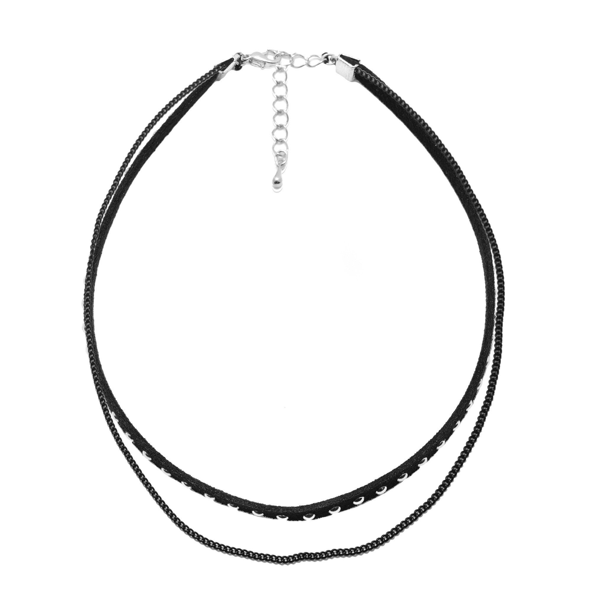 Stud Velvet Choker with Black Chain Layered Necklace