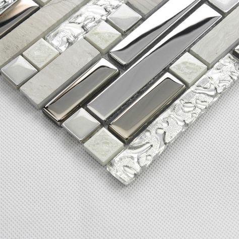 Mosaico di piastrelle decorative per interni pietra argento grigio ...