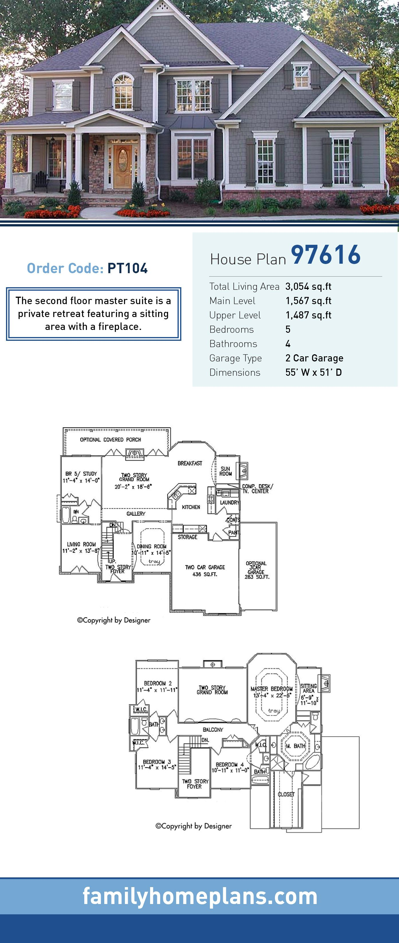 Traditional House Plan 97616 Total Living
