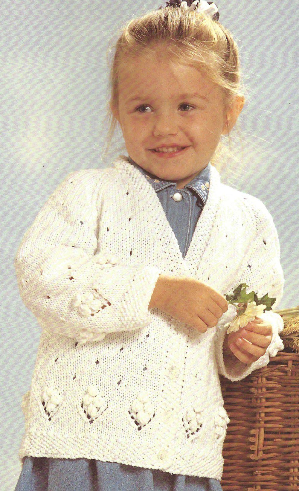 childrens babys girls sweaters dk knitting pattern 69