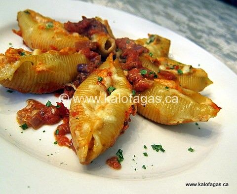 Stuffed Pastashells - with cheese and red peppers
