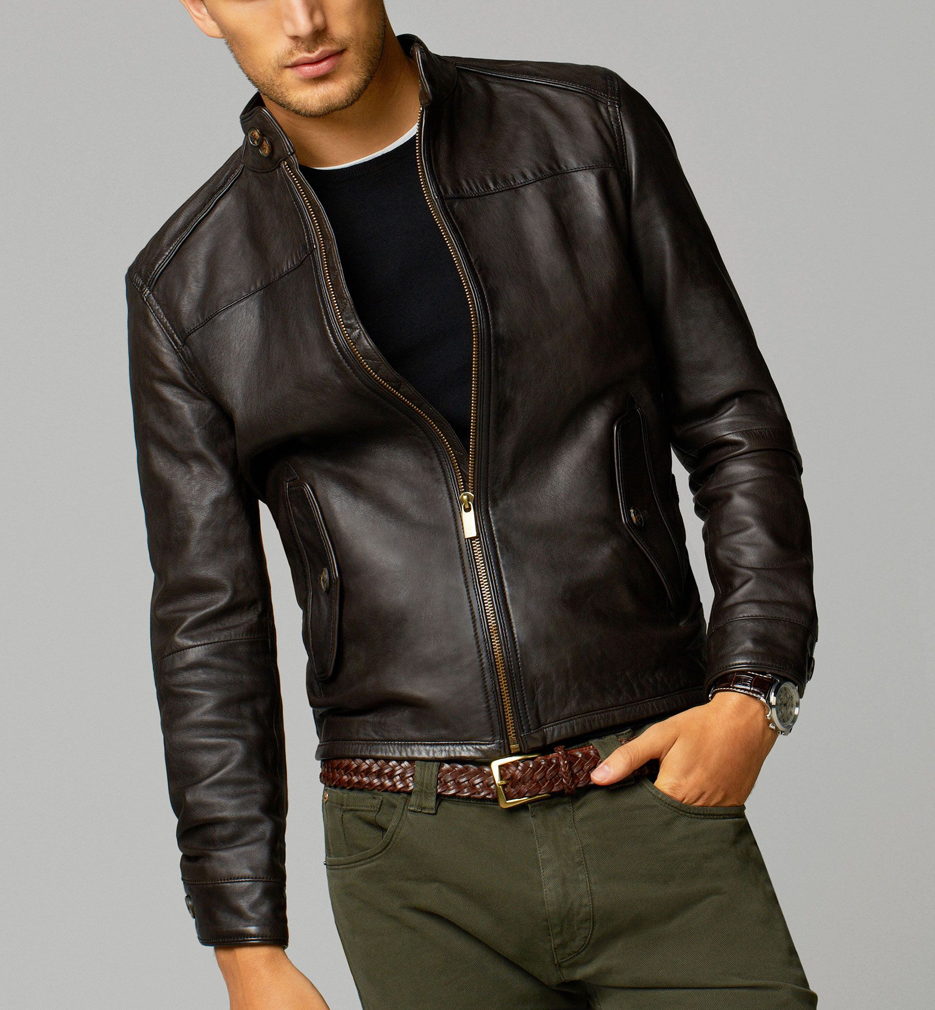 Jacket With Perforated Elbow Patches 380 00 Stylish Leather Jacket Leather Jacket Men Style Leather Jacket Outfit Men [ 2074 x 1920 Pixel ]