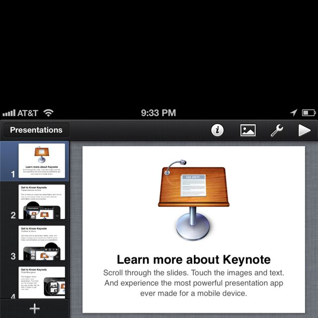 A must have iPhone and iPad APP Keynote. Presentation