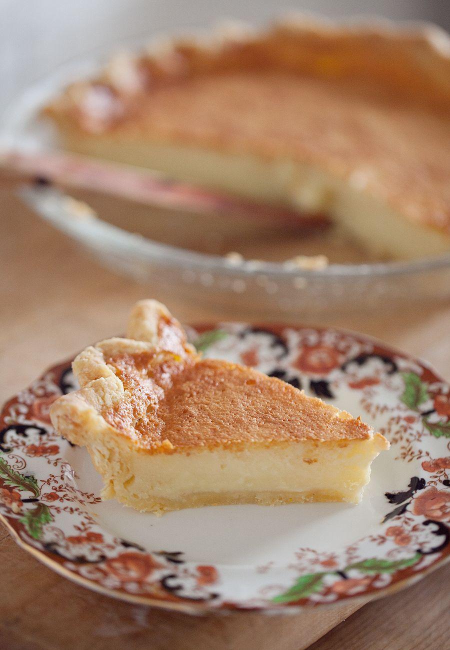 Buttermilk pie in a cornmeal leaf lard crust