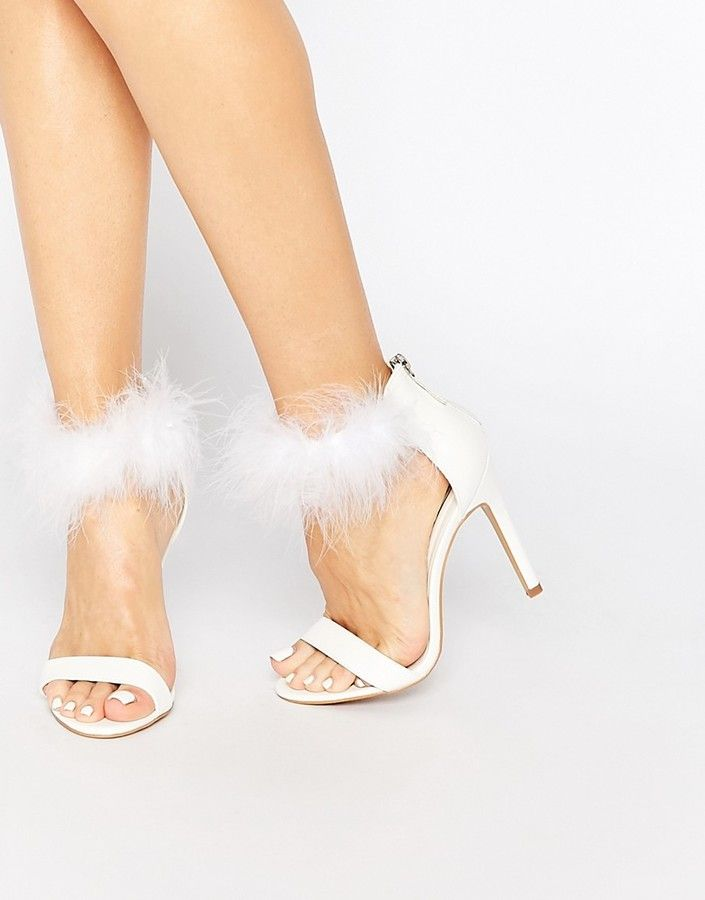 Barely There Sandals - White leather pu Truffle