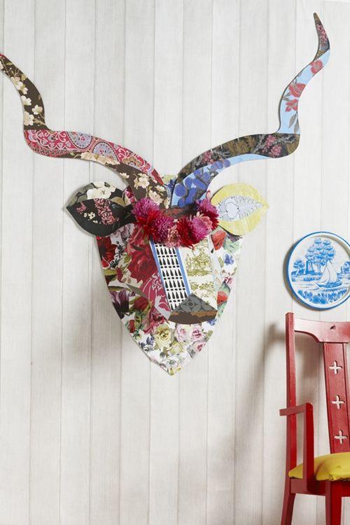 Ciervo de carton kitsch para decorar paredes paredes manualidades ideas y ciervo - Cabeza de ciervo decoracion ...