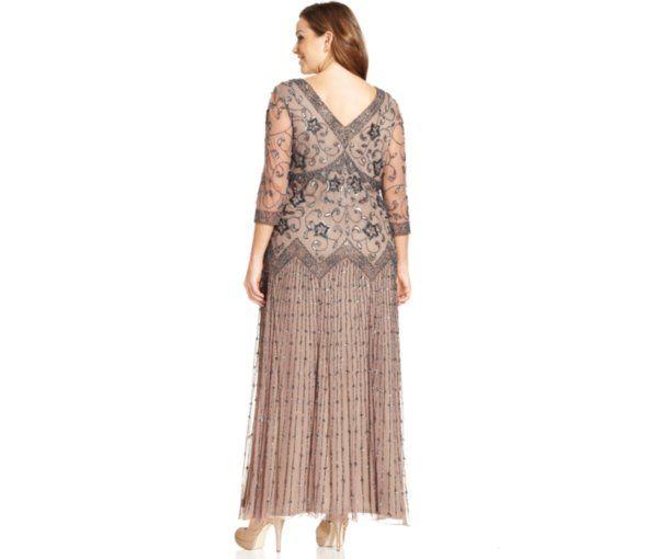 Pisarro Nights Plus Size Three Quarter Sleeve Beaded Gown Dresses