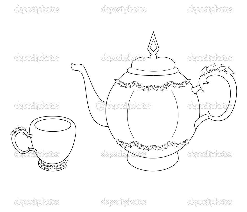 Teapot And Cup Coloring Page Teapot Drawing Tea Pots Tea Pots Vintage