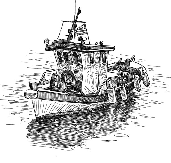 Drawing Fishing Boat Coloring Pages Kids Play Color Drawn Fish Sailboat Drawing Boat Drawing