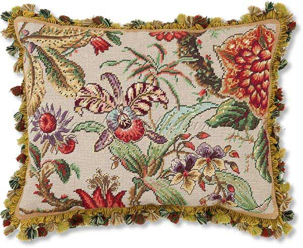 Exotic flowers pillow needlepoint.