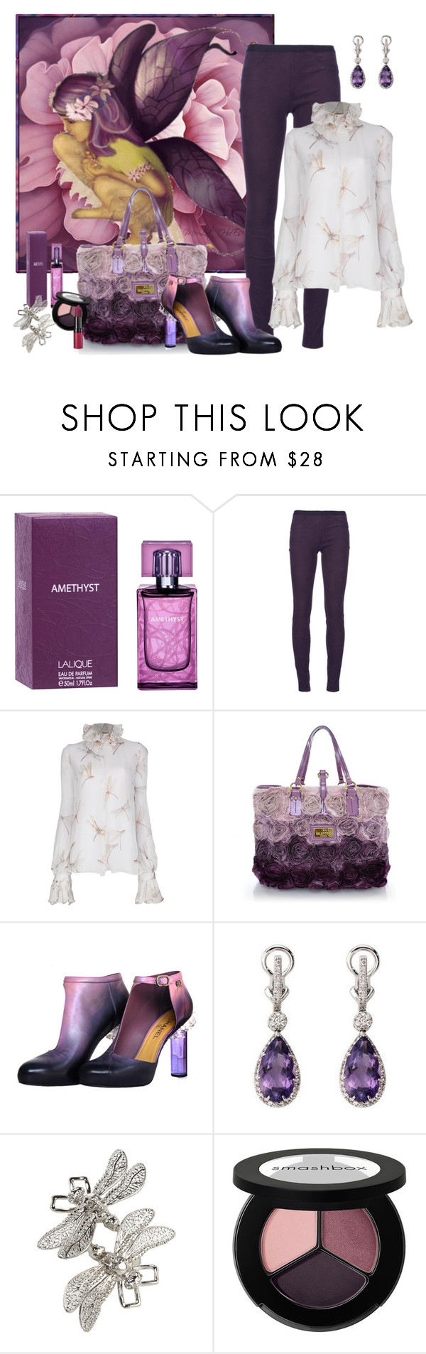 """Fey"" by merlothues ❤ liked on Polyvore featuring Lalique, Helmut Lang, Alexander McQueen, Valentino, Chanel, Aspinal of London, Smashbox, Rimmel, Leather and AlexanderMcQueen"