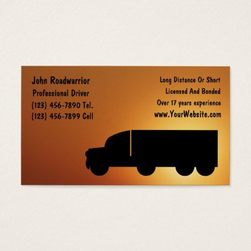 Trucking Business Card Zazzle Com Cool Business Cards