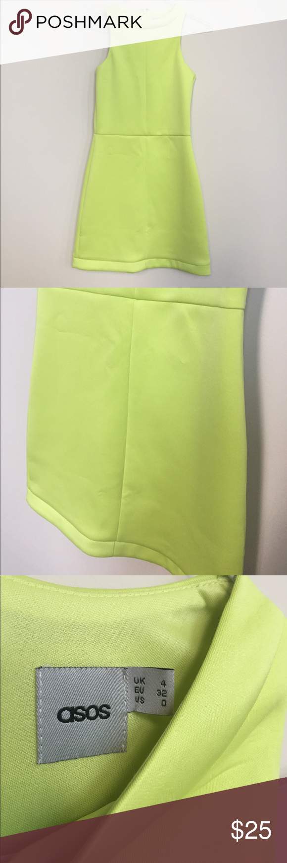 Lime Green ASOS Dress Beautiful ASOS high neck futuristic dress. Like green pop of color. Size 0. In excellent condition! Asos Dresses Mini