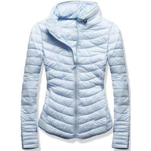 Dámská jarní podzimní bunda Zeria světle modrá – modrá – skvělá prošívaná  bunda vhodná do přechodného období – zapínání na zip – na zipu a na límci  se ... df853bbe608