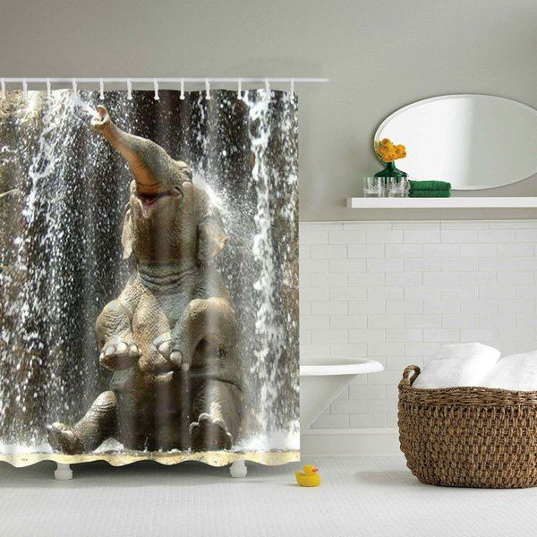 3d Elephant Pattern Bathroom Waterproof Shower Curtain With