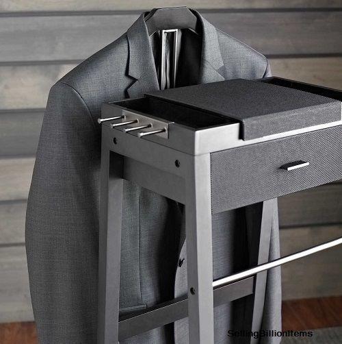 Portable Wardrobe Closet Valet Stand Men Suit Rack Clothes