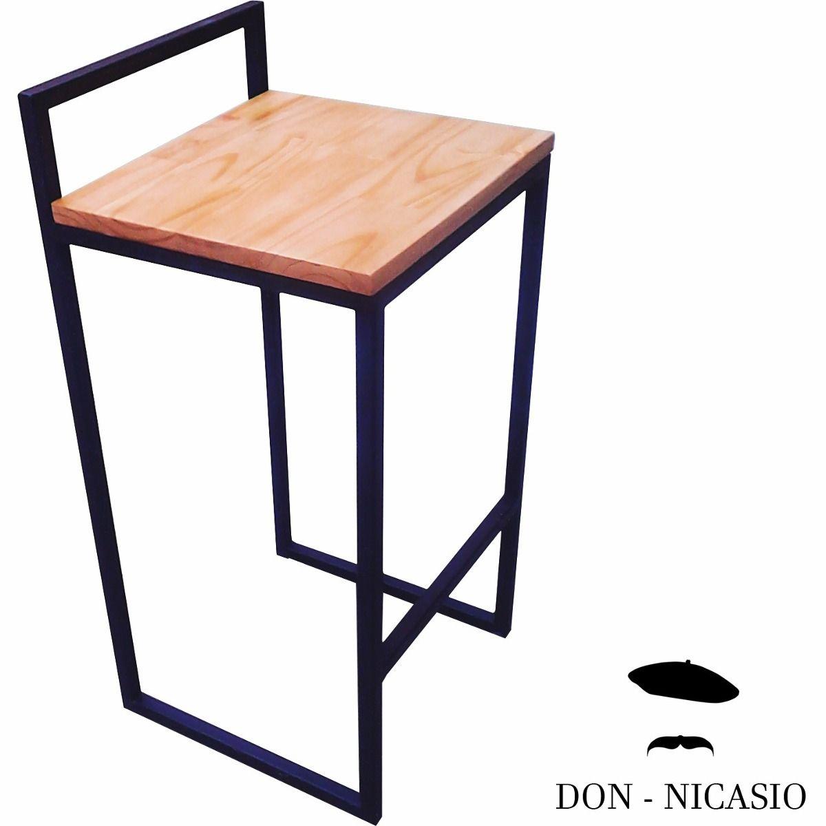 Taburete banqueta hierro y madera moderna industrial 579 99 en mercadolibre wooden - Banqueta de madera ...